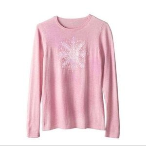 Norm Thompson Pink Snowflake Sweater